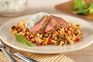Mint & Pumpkin Couscous With Sesame Lamb Recipe
