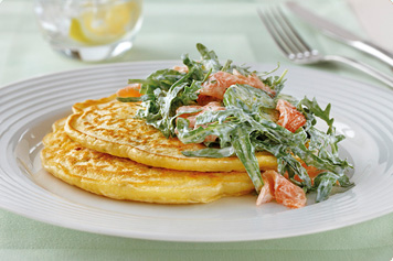 Sweetcorn Pancakes With Smoked Salmon, Cucumber & Dill