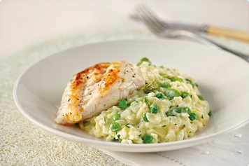 Creamy Asparagus, Pea & Lemon Risotto & Seared Fish